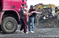 Two Shooting Drivers Fuck A Whore Directly On The Site On The Back Of The Truck