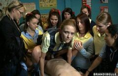 Students Attend A Fuck In The Classroom Where She Fucks Her Pussy With A Condom