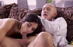 Brunette With Round Tits Fucked In The Mouth And Pussy By A Bald Man
